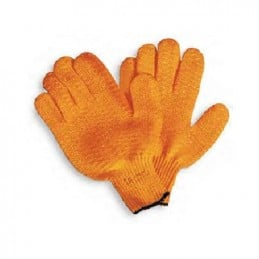 Orange nylon gloves